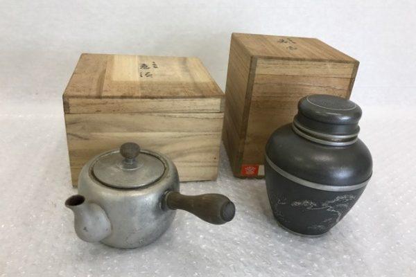 [出張買取]千葉県八街市 骨董 古物 本錫製  茶筒 急須